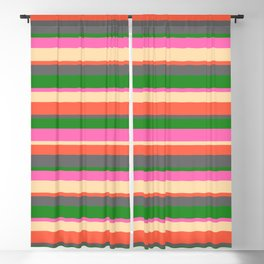 Eye-catching Hot Pink, Tan, Red, Dim Gray, and Forest Green Stripes Pattern Blackout Curtain