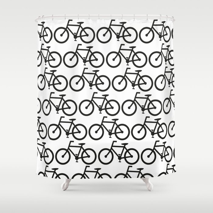 Bicycle Stamp Pattern   Black And White   Fixie Fixed Gear Bike Shower  Curtain