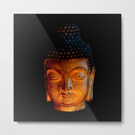 A Buddhist Statue in a Zen Moment in Candlelight Metal Print