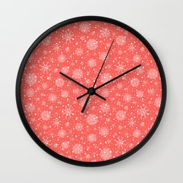 Christmas snowflakes on red background Wall Clock