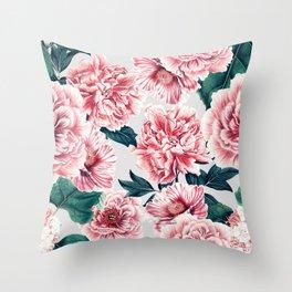 Pattern pink vintage peonies Throw Pillow