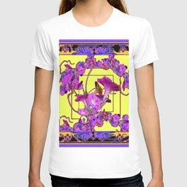 Decorative  Purple Vining Flowers Yellow Art T-shirt