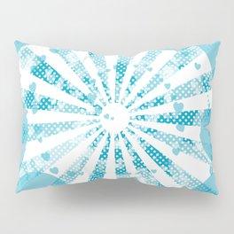 Pop art blue illustration on the background of hearts Pillow Sham