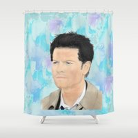 castiel Shower Curtains featuring Castiel by MishaHead