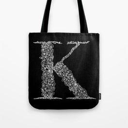 Cherry Blossom K Black Tote Bag