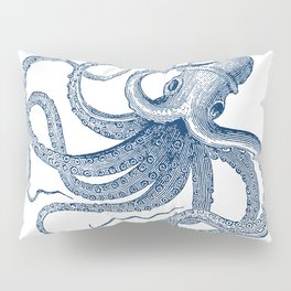 Blue nautical vintage octopus illustration Pillow Sham