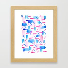 Blue Pink Diagonal Plaid Framed Art Print