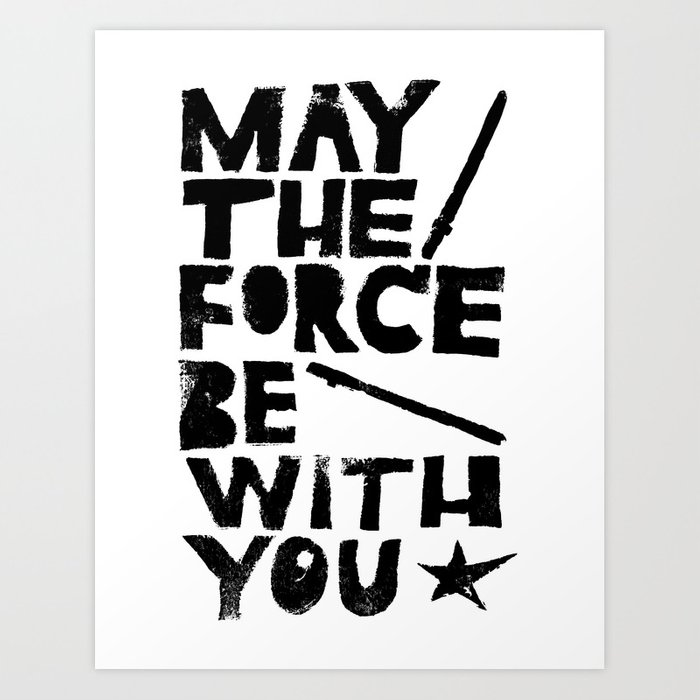 May The Force Be With You Linocut Star Wars Movie Poster Art Print