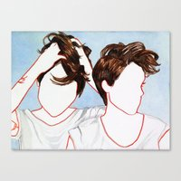 tegan and sara Canvas Prints featuring Tegan and Sara by Kim Leutwyler
