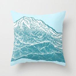 Distant Snow- 遠雪 : linocut Throw Pillow