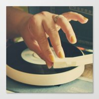vinyl Canvas Prints featuring Vinyl by Gina Conti