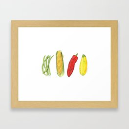 Four Veggies Framed Art Print