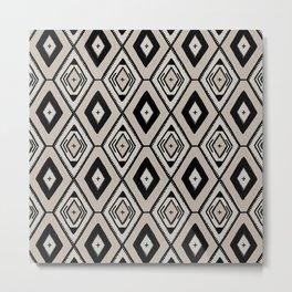 Black and neutral tribal diamond pattern Metal Print