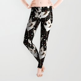 Origami Crane Metamorphosis (Noir) Leggings