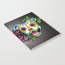 Smiling Pit Bull in White - Day of the Dead Pitbull Sugar Skull Notebook