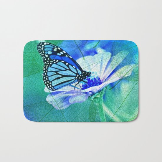 Butterfly, Flower And Leaves Bath Mat