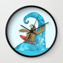 surfing sloth in the spring Wall Clock