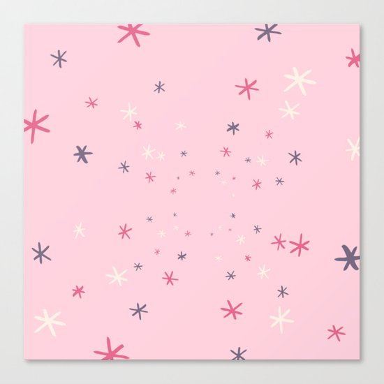 Pink Decorative Design with Stars to Infinity Canvas Print