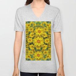 YELLOW COREOPSIS FLOWERS GREEN GARDEN Unisex V-Neck