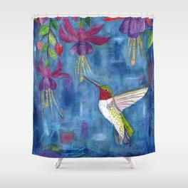 hummingbird & fuchsia Shower Curtain