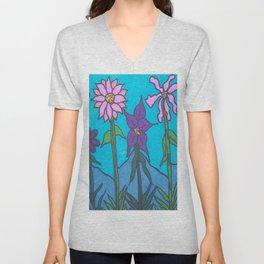 Blue Mountain Flowers Unisex V-Neck