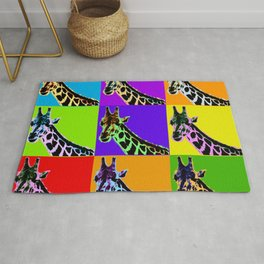 Poster with giraffe in pop art style Rug