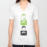 kafka V-neck T-shirts featuring Kafka Faces by Kafka Prepa Abierta