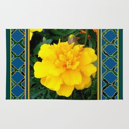 DECORATIVE TEAL & YELLOW  MARIGOLD FLORAL  PATTERN Rug