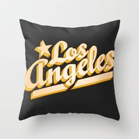 los angeles Throw Pillows featuring Los Angeles by GetSolidGold
