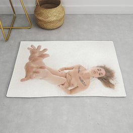 3524-KLM Bare Feet Up Toes Spread Foot Woman on White Rug