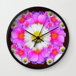 Colorful Fuchsia Rose Bouquet Garden Shasta Daisies Wall Clock