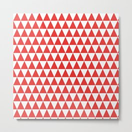 Poppy Red and White Triangle Pattern Metal Print