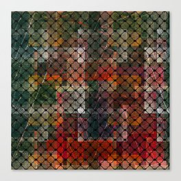 Grid on a red-green grunge Canvas Print