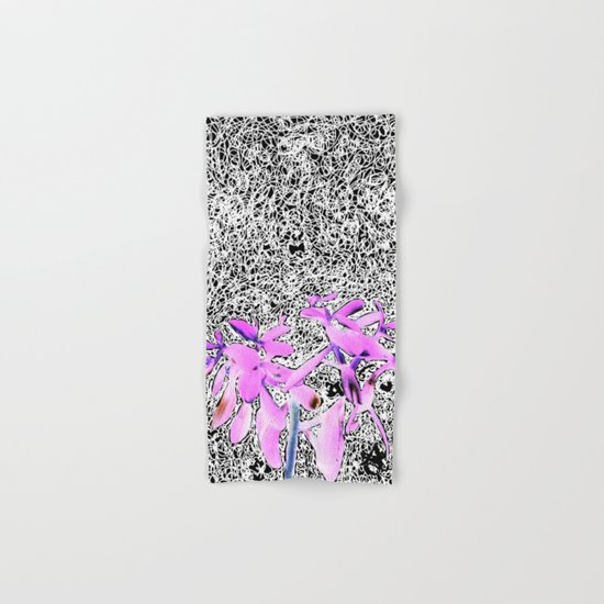Neon Succulent Black and White Scribbles! Hand & Bath Towel
