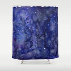 Night Sky Galaxy Nebula Stars Watercolor Space Texture Shower Curtain