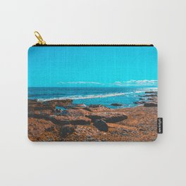 Beautiful orange rocks at greece with blue sea and white waves Carry-All Pouch