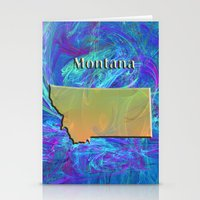 montana Stationery Cards featuring Montana Map by Roger Wedegis
