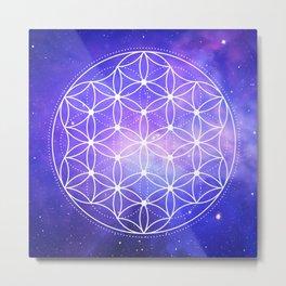 Flower Of Life Galaxy Metal Print