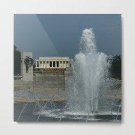 Memorial Fountain  And Lincoln Memorial Metal Print