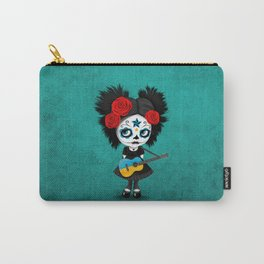 Day of the Dead Girl Playing Ukrainian Flag Guitar Carry-All Pouch