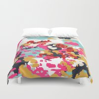 cello Duvet Covers featuring Inez - Modern Abstract painting in bold colors for trendy modern feminine gifts ideas  by CharlotteWinter