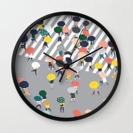 Crossing The Street on a Rainy Day - Grey Wall Clock