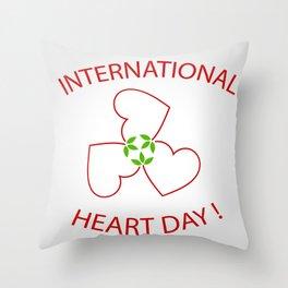 International Heart Day Throw Pillow