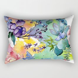 Watercolor Floral Flower Colorful Print Pattern Rectangular Pillow