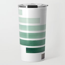 Deep Aqua Green Midcentury Modern Minimalist Staggered Stripes Rectangle Geometric Aztec Pattern Wat Travel Mug