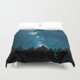 Blue Milky Way At Night Pine Tree Silhouette Stars Night Time Duvet Cover