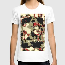 vintage psychedelic geometric painting texture abstract in red brown black T-shirt