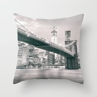 brooklyn bridge Throw Pillows featuring Brooklyn Bridge  by Vivienne Gucwa