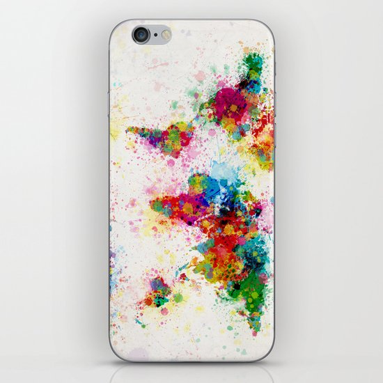 Map of the World Map Paint Splashes iPhone & iPod Skin