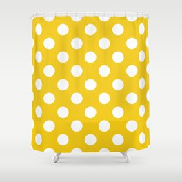 Jonquil - yellow - White Polka Dots - Pois Pattern Shower Curtain